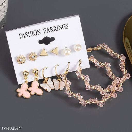 Jewels Galaxy Butterfly Inspired Trendy 6 Pairs Earrings Combo For Women/Girls