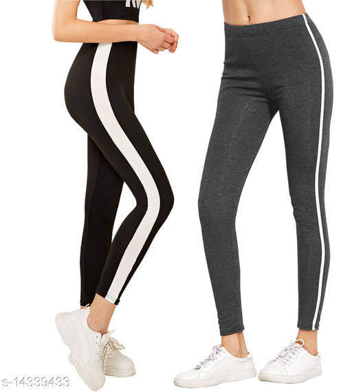 Women's Side stripped Stretched Jeggings_sport wear_yoga pant _track Pant_jogger pant for women_combo pack of _2