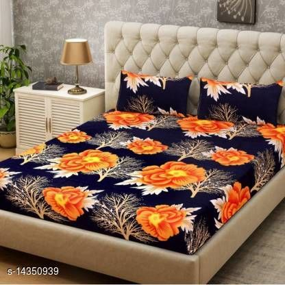 BHOOMIYA COLLECTION MICROFIBER DOUBLE BEDSHEET WITH TWO PILLOW COVER