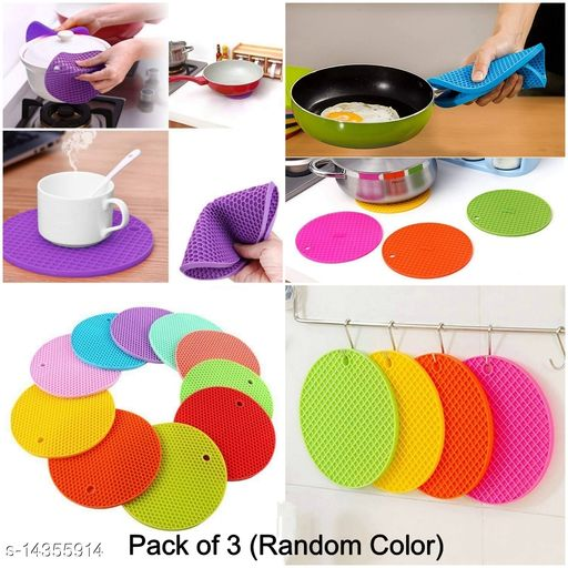 Silicone Round Heat Resistant Placemats (Pack of 3)