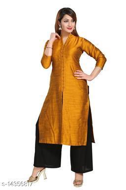 Women Art Silk Straight Solid Yellow Kurti