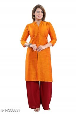 Women Art Silk Straight Solid Orange Kurti