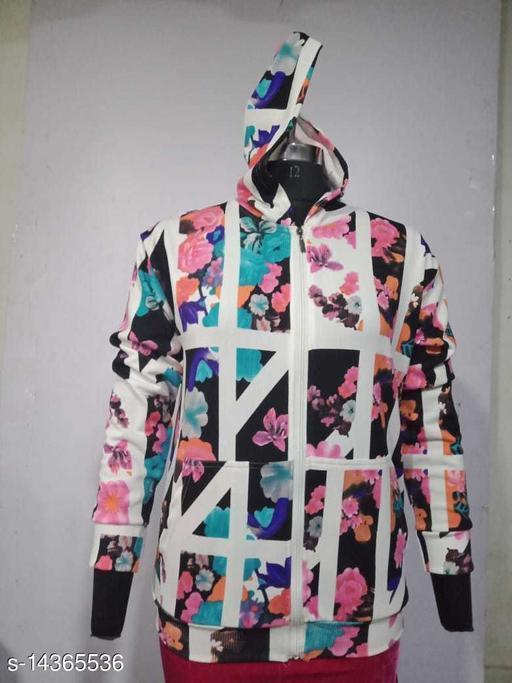 Carrel Women's Lycra Printed Hoodie Multicolour01 XXL