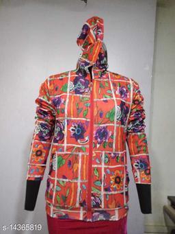 Carrel Women's Lycra Printed Hoodie Orange L