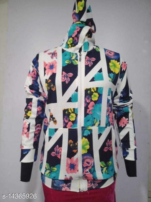 Carrel Women's Lycra Printed Hoodie Multicolour02 XXL