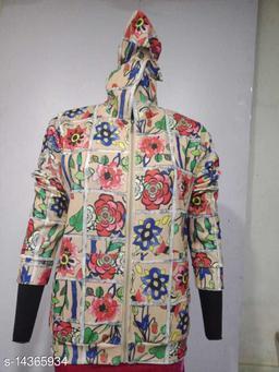 Carrel Women's Lycra Printed Hoodie Beige M