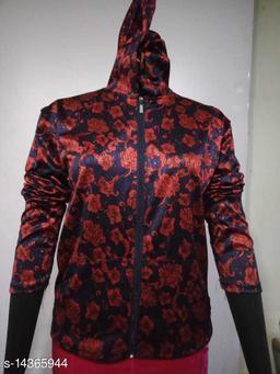 Carrel Women's Lycra Printed Hoodie Red XXL