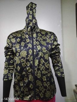 Carrel Women's Lycra Printed Hoodie Gold XL