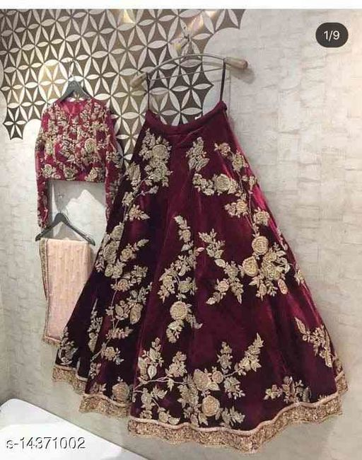 Maroon Colored Party Wear Velevet material Lehengha Choli With Embrodariy Work -LC70