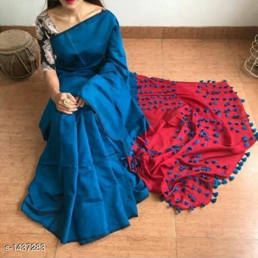 Sarees Attractive Khadi Cotton Saree  *Fabric* Saree - Khadi Cotton, Blouse - Khadi Cotton  *Size* Saree - 5.5 Mtr Blouse -0.8 Mtr  *Work* Pom - Pom  *Sizes Available* Free Size *   Catalog Rating: ★3.7 (176)  Catalog Name: Rheyali Embellished Khadi Khadi Cotton Sarees with Pom - Pom CatalogID_186333 C74-SC1004 Code: 305-1437283-