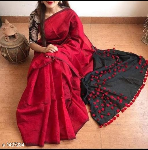 Sarees Attractive Khadi Cotton Saree  *Fabric* Saree - Khadi Cotton, Blouse - Khadi Cotton  *Size* Saree - 5.5 Mtr Blouse -0.8 Mtr  *Work* Pom - Pom  *Sizes Available* Free Size *   Catalog Rating: ★3.7 (176)  Catalog Name: Rheyali Embellished Khadi Khadi Cotton Sarees with Pom - Pom CatalogID_186333 C74-SC1004 Code: 305-1437284-