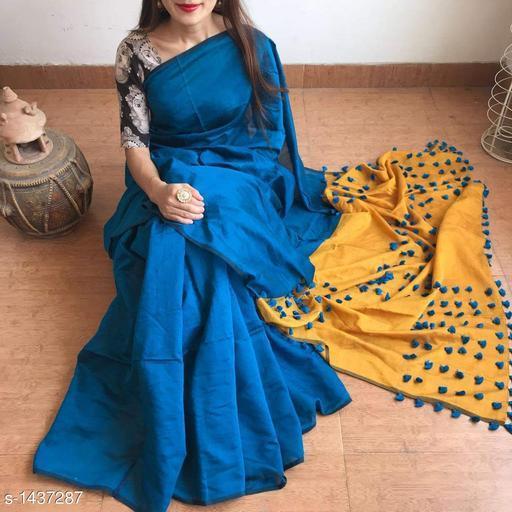 Sarees Attractive Khadi Cotton Saree  *Fabric* Saree - Khadi Cotton, Blouse - Khadi Cotton  *Size* Saree - 5.5 Mtr Blouse -0.8 Mtr  *Work* Pom - Pom  *Sizes Available* Free Size *   Catalog Rating: ★3.7 (176)  Catalog Name: Rheyali Embellished Khadi Khadi Cotton Sarees with Pom - Pom CatalogID_186333 C74-SC1004 Code: 305-1437287-