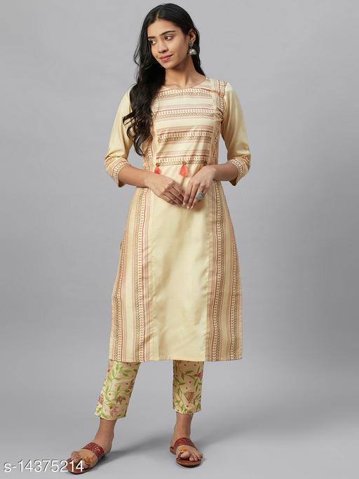 Ziyaa Women's Cream Poly Silk Foil Printed Straight Kurta