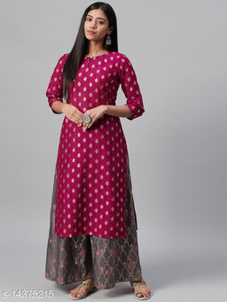 Ziyaa Women's Pink Poly Silk Foil Printed Straight Kurta