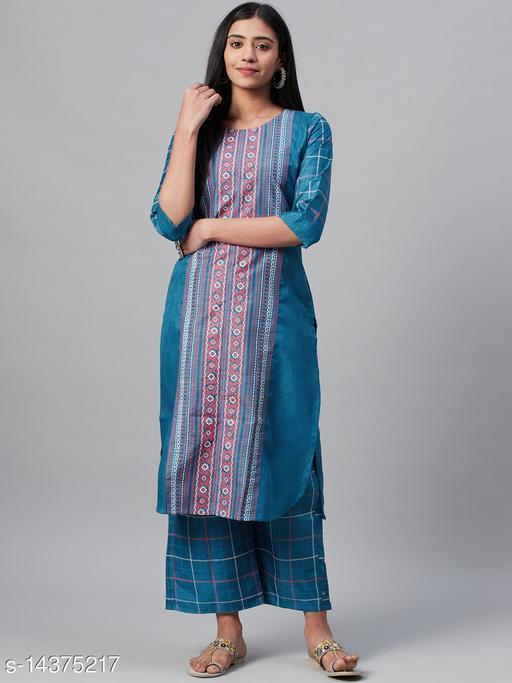 Ziyaa Women's Teal Blue Poly Silk Khari Printed Straight Kurta