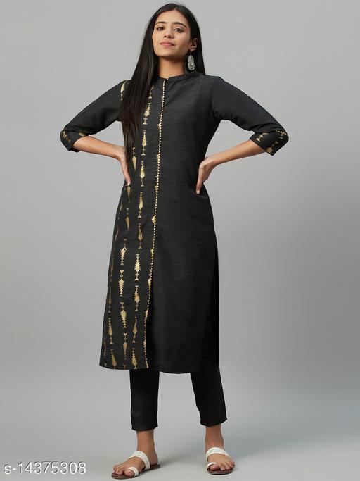 Ziyaa Women's Black Poly Silk Foil Printed Straight Kurta
