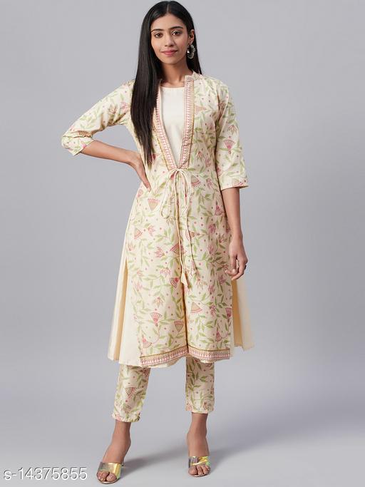 Ziyaa Women's Cream Poly Silk Foil Printed A-Line Kurta