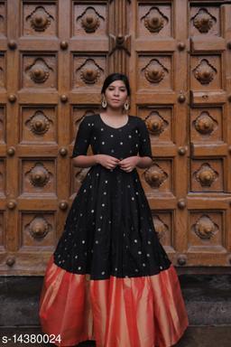 Impressive Designer Black colored with orange bordered Designer Wear Outfit