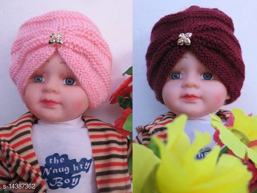Fancy Turban cap Combo Baby Pink and Maroon