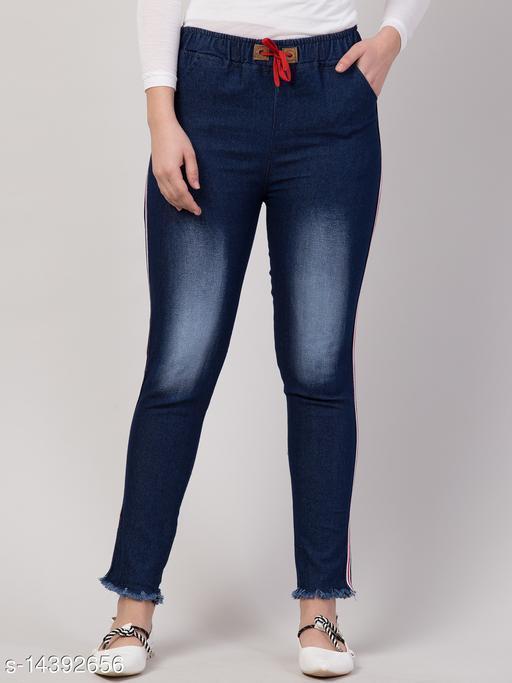 Kyla Exclusive Joggers Side Striped Dark Blue Jean For Women