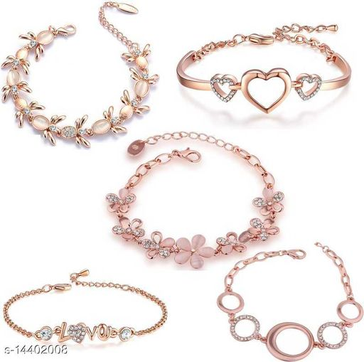 Rose Gold Platted Crystal Jewellery Combo of 5 Designer Adjustable Chain Bangle Bracelet Emblished with White Crystal Elements Fitted for Girls and Women CO1000280