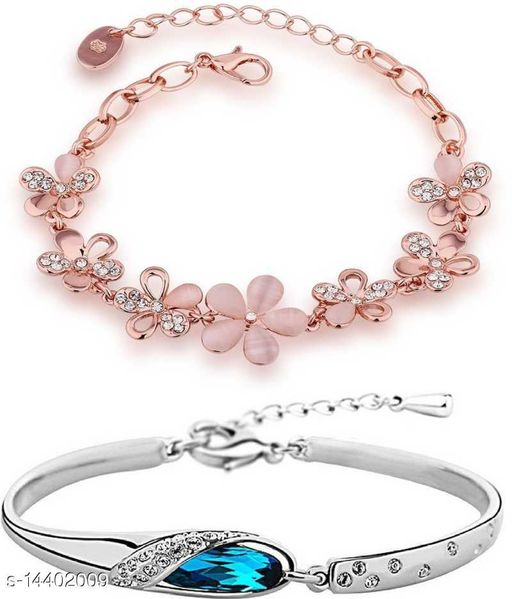 Combo of Two Pink Floral and Silver Classic Colour Adjustable Bracelets for Girls and Women CO1000050