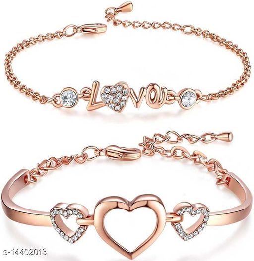 Rose Gold White Crystal Studded Combo of Alluring Hearts and Love Bangle Bracelet for Girls and Women CO1000088