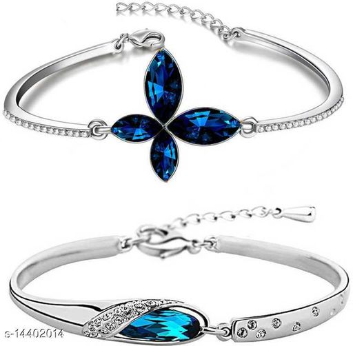 Fashion Jewellery Combo of Delicate Butterfly Bracelet and Classic Rhodium Bracelet made for Girls and Women CO1000052