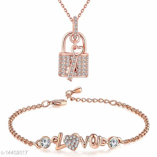 Valentine Jewellery Combo of Rose Gold Platted Lock and Key Pendant Necklace with Designer Love Link Bracelet for Girls and Women CO1000090