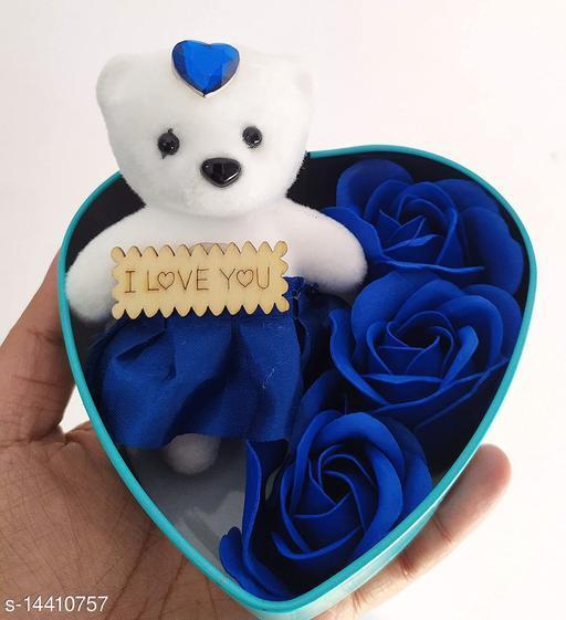 Ni&Mee Heart Shape Gift Box And Teddy & Rose (Blue, 1 Teddy, 3 Fragrant Rose Bud Petal Soap, 1 Heart Shape Tin Box, 1 Heart Tag)