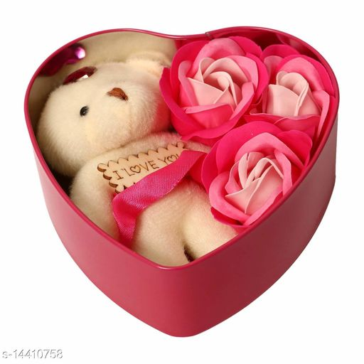 Ni&Mee Heart Shape Gift Box And Teddy & Rose (Red, 1 Teddy, 3 Fragrant Rose Bud Petal Soap, 1 Heart Shape Tin Box, 1 Heart Tag)