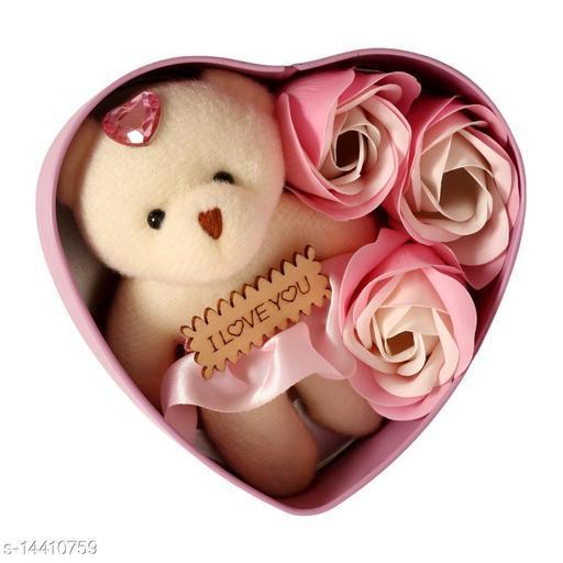 Ni&Mee Heart Shape Gift Box And Teddy & Rose (Pink, 1 Teddy, 3 Fragrant Rose Bud Petal Soap, 1 Heart Shape Tin Box, 1 Heart Tag)