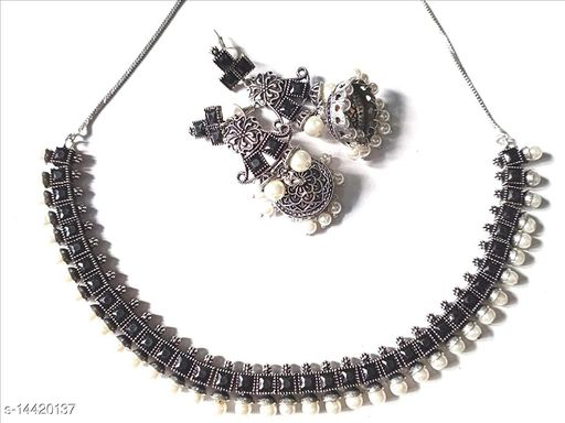 Oxidized German Silver & Brass In Silver Plating and Rhinestone Necklace Set for Women & Girls (Black)