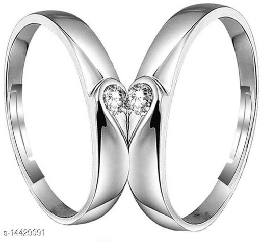 Cz Jewellery Rhodium Plated Adjustable Solitaire Couple Ring for Men and Women CO1000208