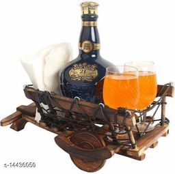 A S Handucrafts Wooden Cart Shaped 1 Wine Bottle and 2 Glass Holder, Tray Serving Set