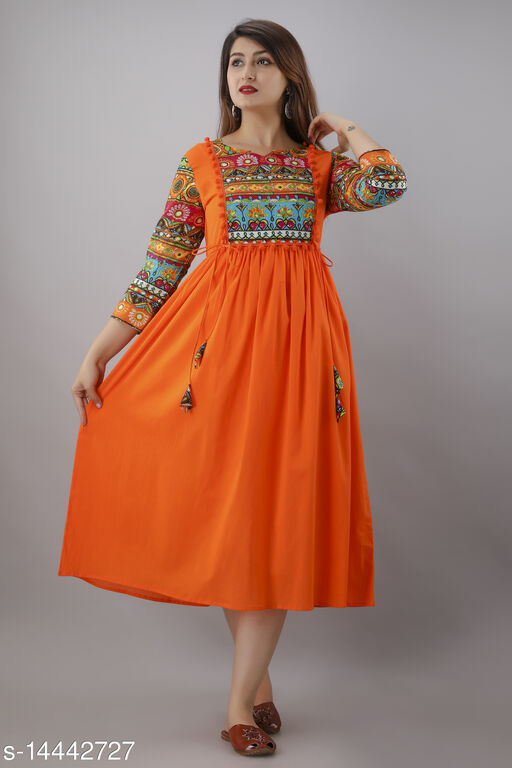 Women Cotton Cambric A-line Solid Orange Kurti