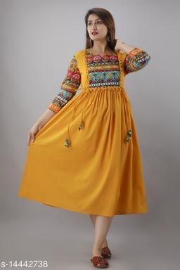 Women Cotton Cambric A-line Solid Mustard Kurti