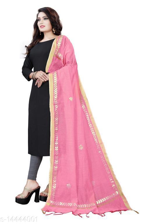 Cotton Blend Embroidered BEBY PINK Women Dupatta