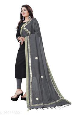 Cotton Blend Embroidered GREY Women Dupatta