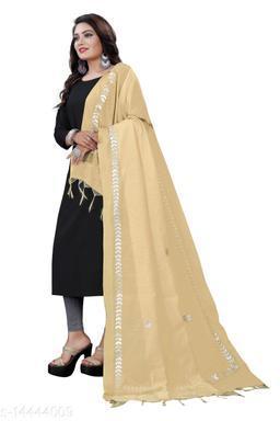 Cotton Blend Embroidered GOLD Women Dupatta