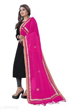 Cotton Blend Embroidered PINK Women Dupatta