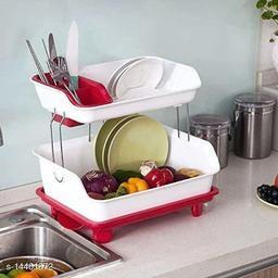 Kitchen Dish Drainer Rack Plastic | 2 Layer Kitchen Organizer Sink Dish - Cutlery Drying Organizer Drainer Drying Kitchen Storage Rack & Washing Holder Basket