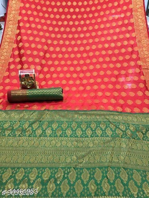 Women's Banarasi Silk Saree With Blouse Piece (Red&Green)