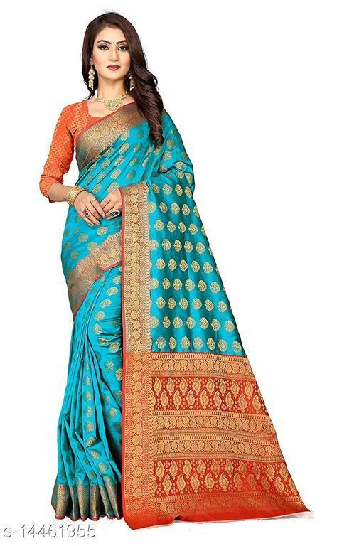 Women's Banarasi Silk Saree With Blouse Piece (Rama&Red)