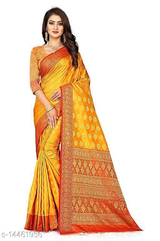 Women's Banarasi Silk Saree With Blouse Piece (Yellow&Red)