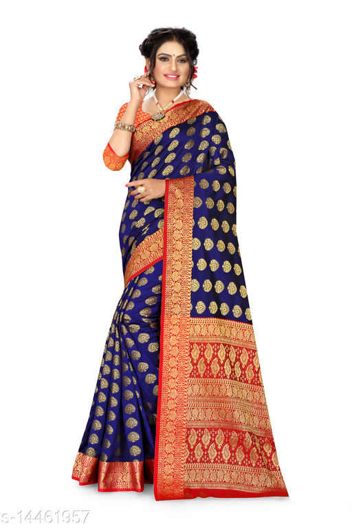 Women's Banarasi Silk Saree With Blouse Piece  (Blue&Red)