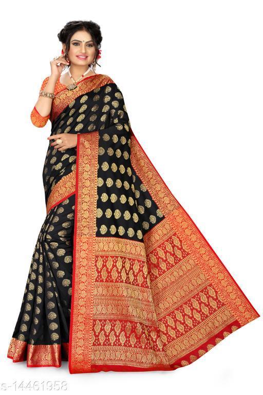 Women's Banarasi Silk Saree With Blouse Piece  (Black&Red)