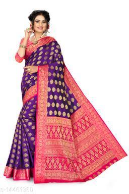 Women's Banarasi Silk Saree With Blouse Piece (Purple&Pink)
