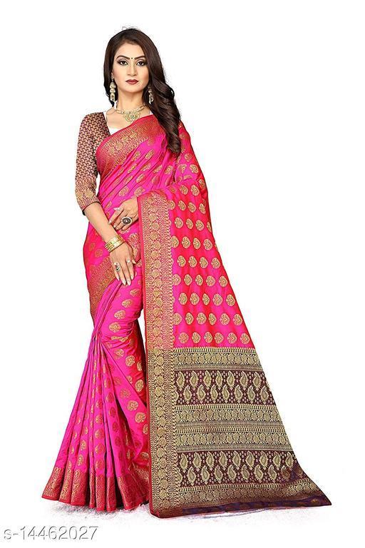 Women's Banarasi Silk Saree With Blouse Piece (Pink&Brown)