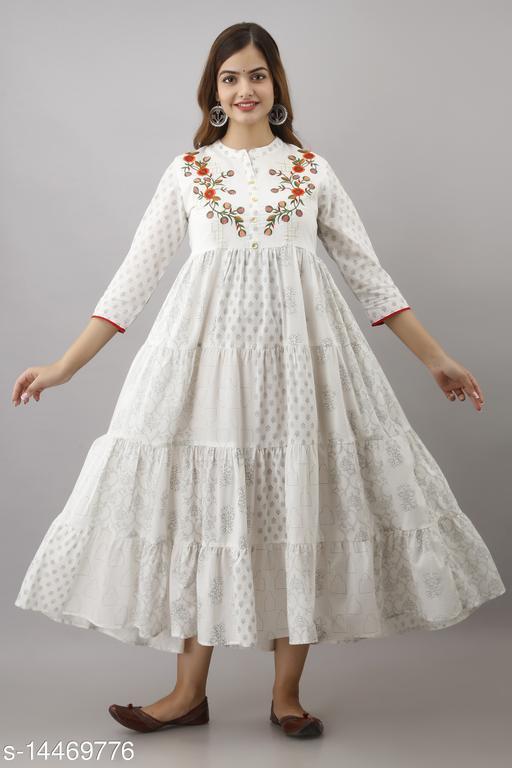 The Wish Women Cambric Embroidered Anarkali Kurta (White)
